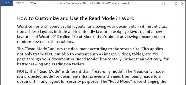 Режим чтения в Word