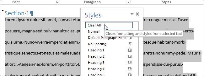 Как очистить форматирование в Word