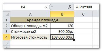 Результат формулы