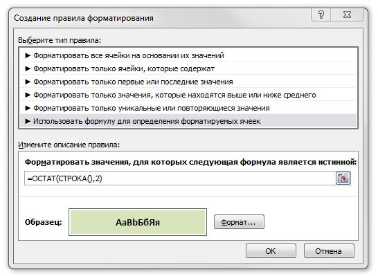 Рис. 2.5. Диалоговое окно условного форматирования с формулой для форматирования каждой второй строки в диапазоне