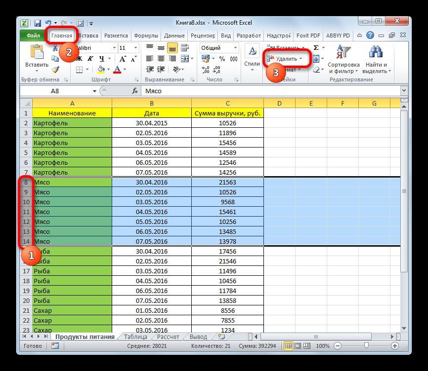 Удаление ячеек после сортировки в Microsoft Excel