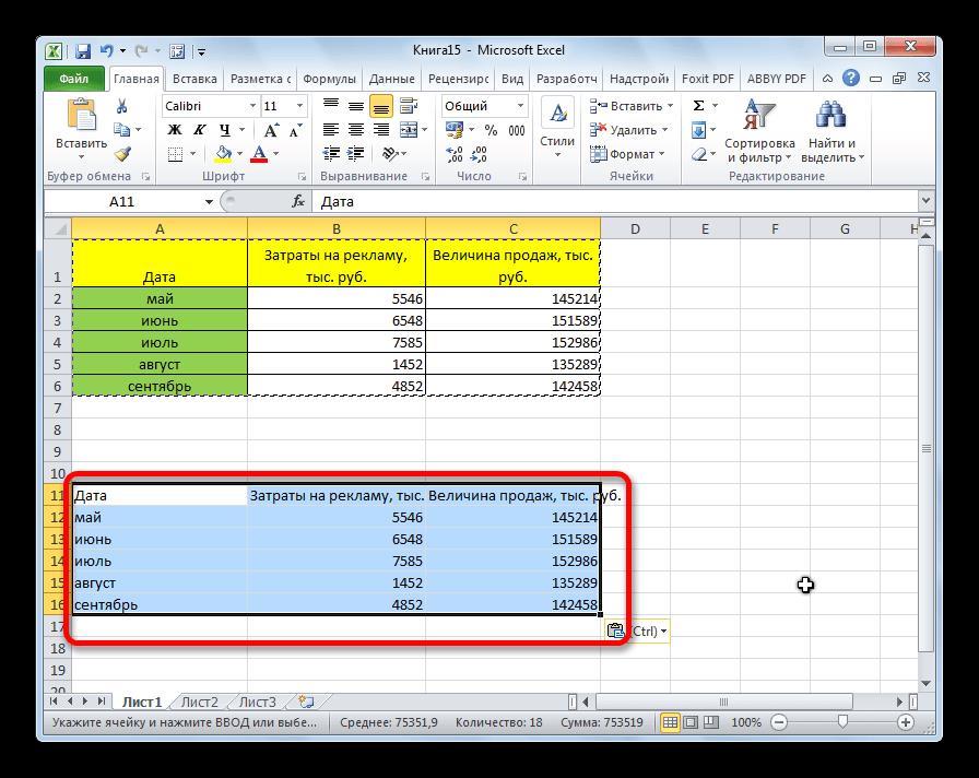 Значения вставлены в Microsoft Excel