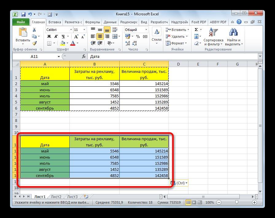 Таблица вставлена с изначальной шириной столбцов в Microsoft Excel