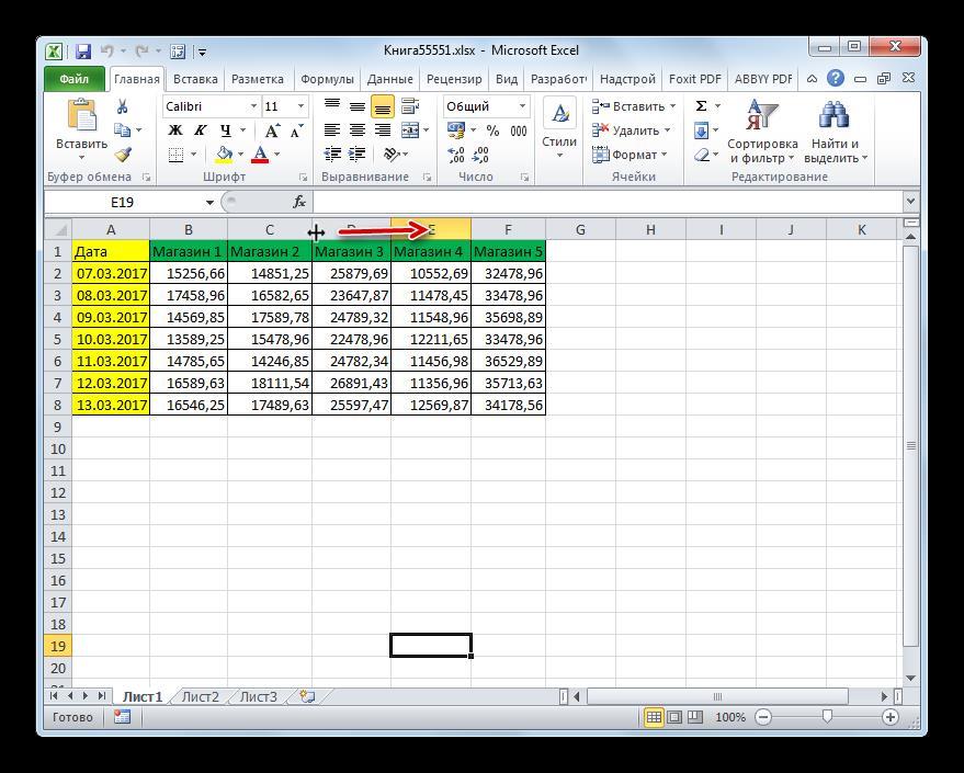 Расширение столбца в Microsoft Excel