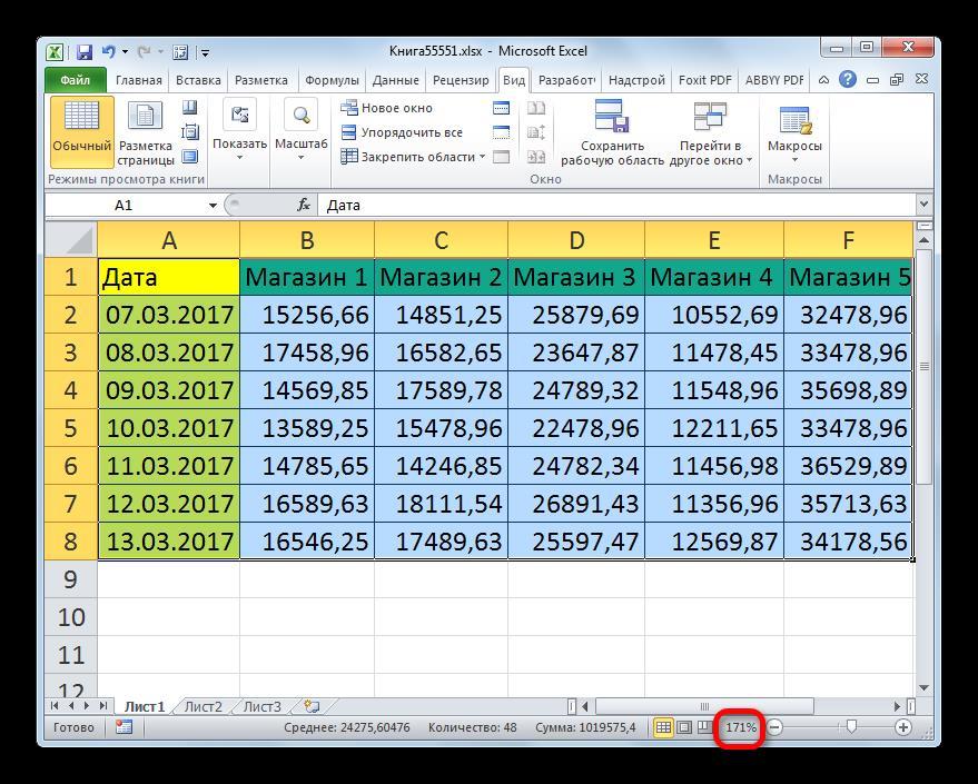 Таблица масштабирована по выделению в Microsoft Excel