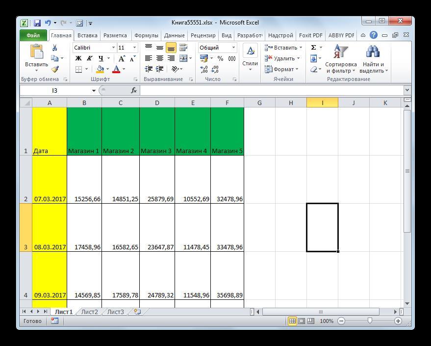 Все строки таблицы расширины в Microsoft Excel