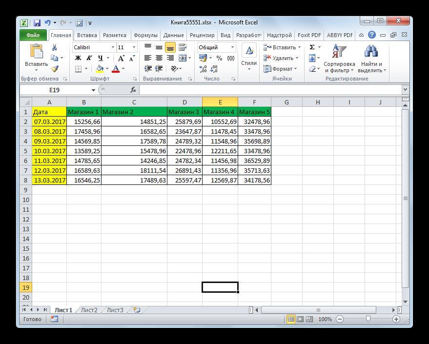 Столбец расширен в Microsoft Excel