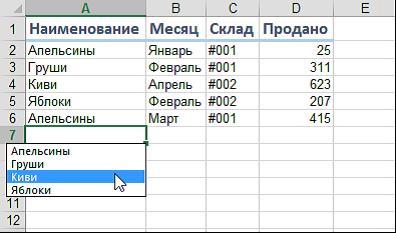 Появится отсортированный список уникальных ранее введенных значений