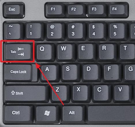 нажмите на клавишу TAB