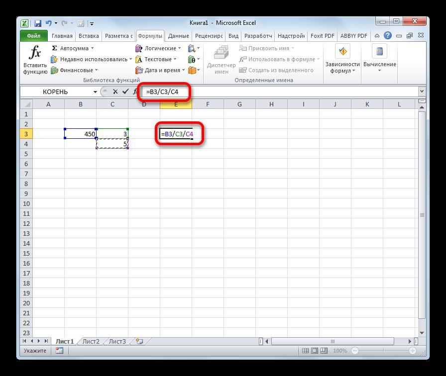 Деление чисел в ячейках в Microsoft Excel