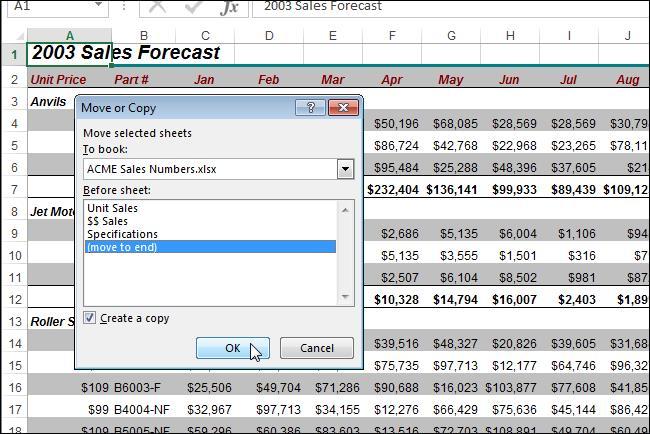 Копируем и перемещаем листы в Excel