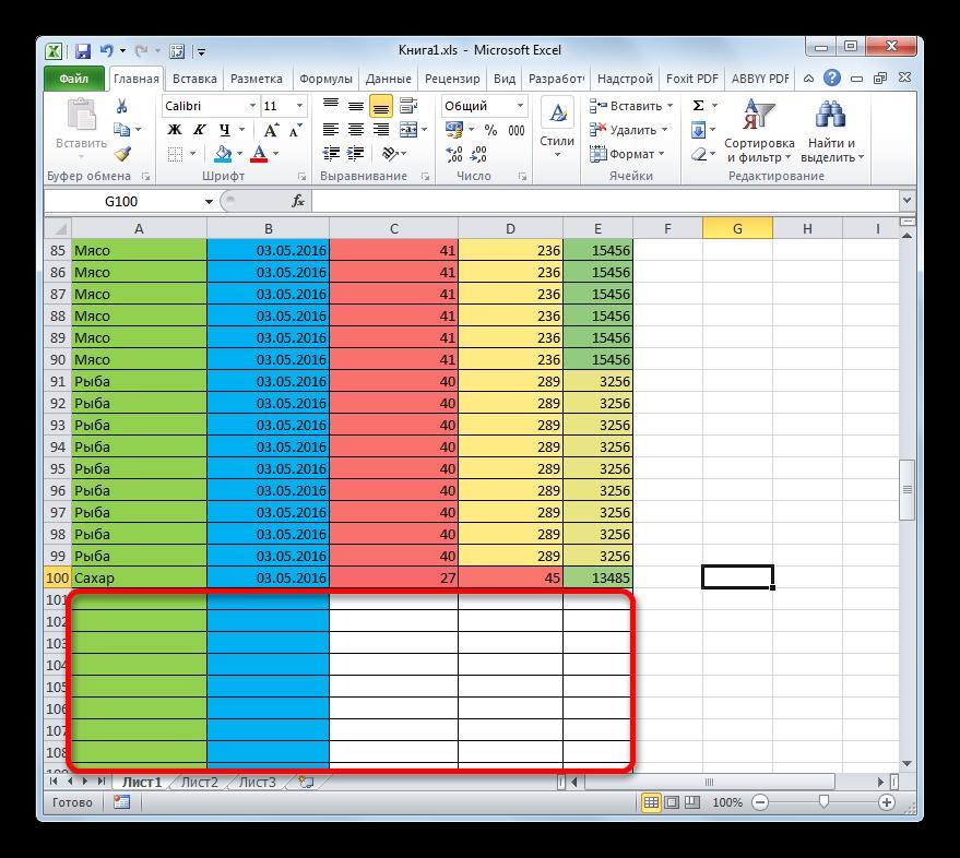 Форматирование пустых ячеек в Microsoft Excel