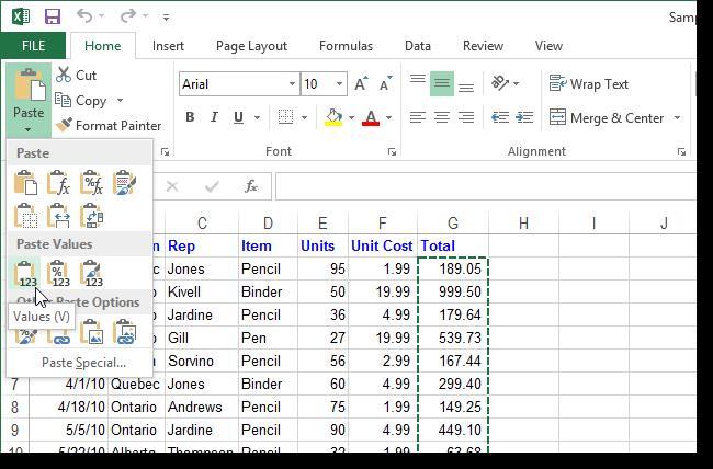 Замена формул на значения в Excel