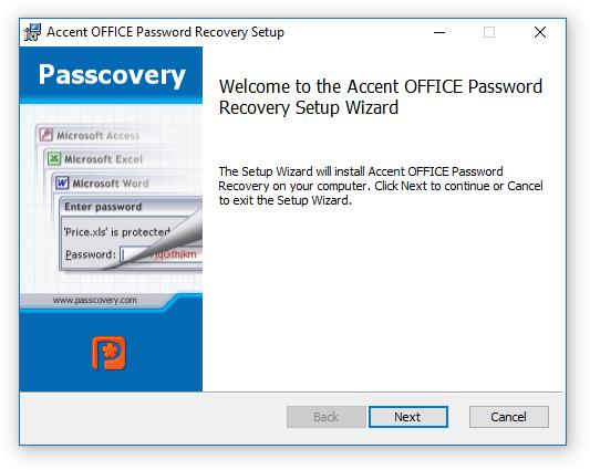 Accent OFFICE Password Recovery Setup