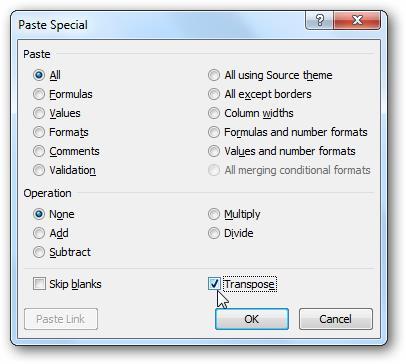 Преобразовать столбец в строку в Excel