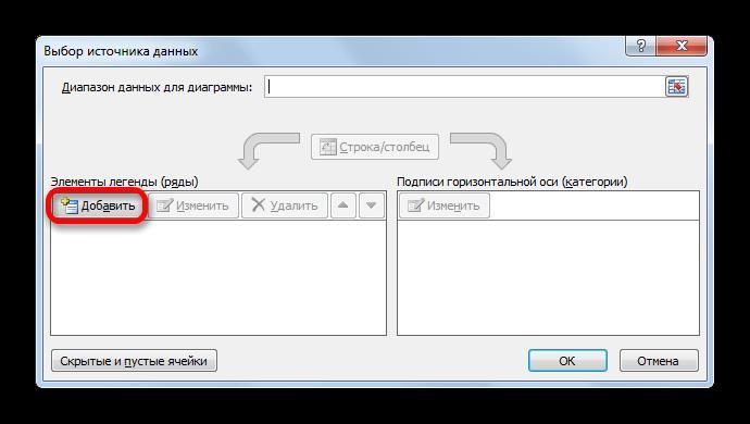 Окно выбора источника данных в Microsoft Excel