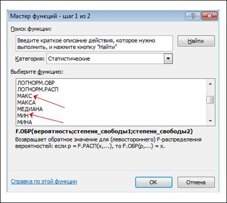 Функции МАКС и МИН в Excel