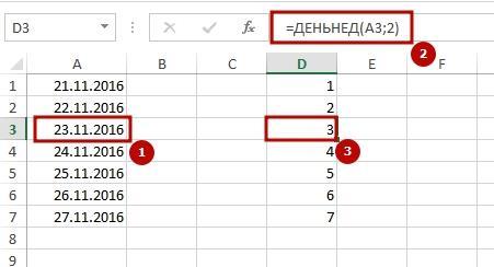 Den nedeli po date 4 Как определить в Excel день недели по дате