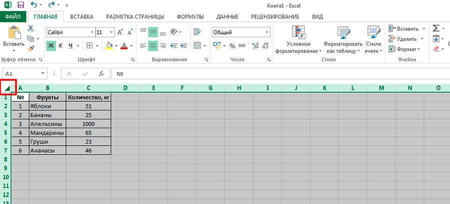 Сначала выделяем всю таблицу (в MS Excel, как и в других windows-приложениях это можно проделать и с помощью комбинации клавиш CTRL+A)