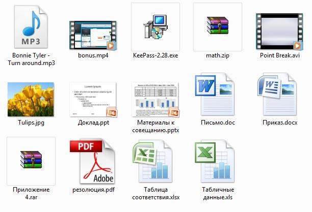 Расширения файлов в Windows 7