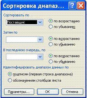 Окно Сортировка диапазона в Excel