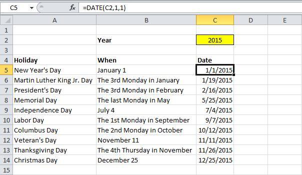 Вычисляем дату праздника в Excel