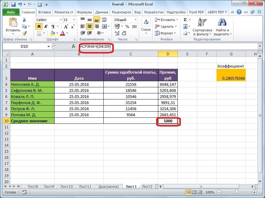 Среднее арифметическое в Microsoft Excel вычислено