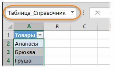 В строке формул можно увидеть имя импортированного списка