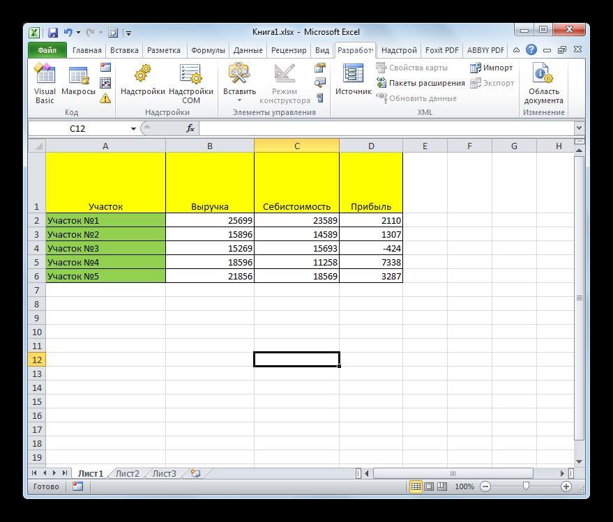 Таблица Excel открыта в Microsoft Excel