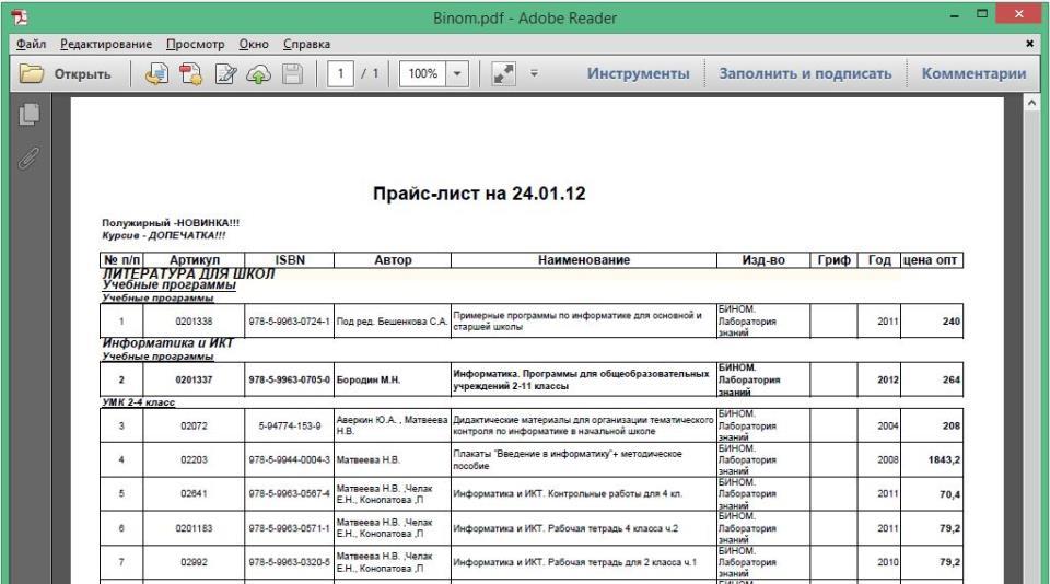 Рис. 7.1. Программа Adobe Reader с PDF-файлом, созданным из книги Excel