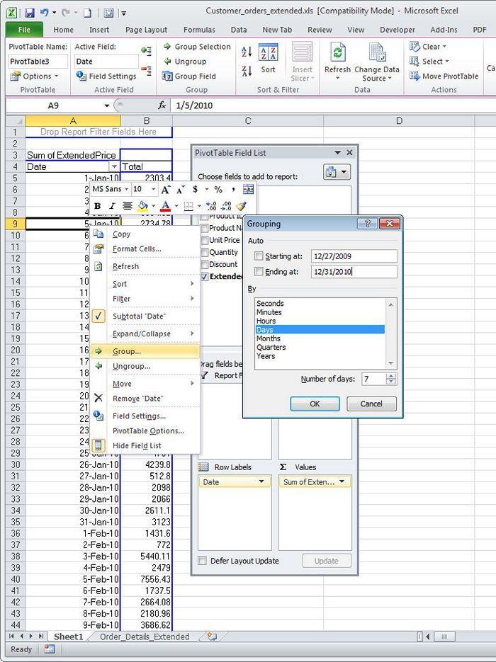 Группировка в сводных таблицах Excel