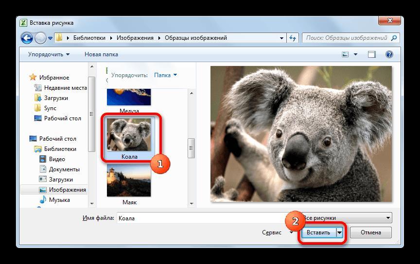 Выбор изображения для вставки в Microsoft Excel