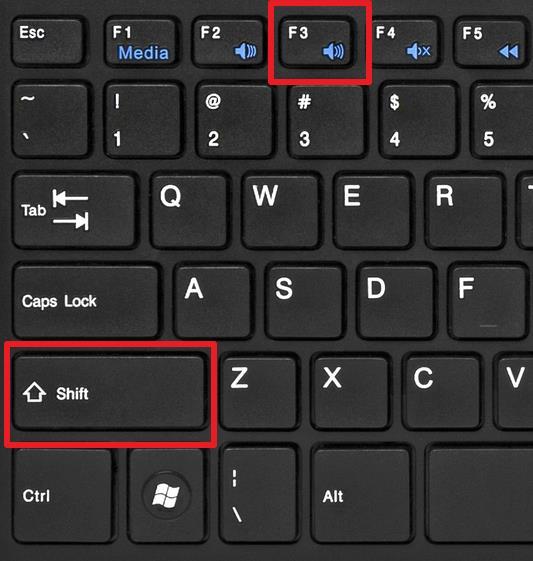 комбинация клавиш SHIFT+F3