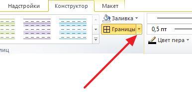 кнопка Границы на вкладке Конструктор
