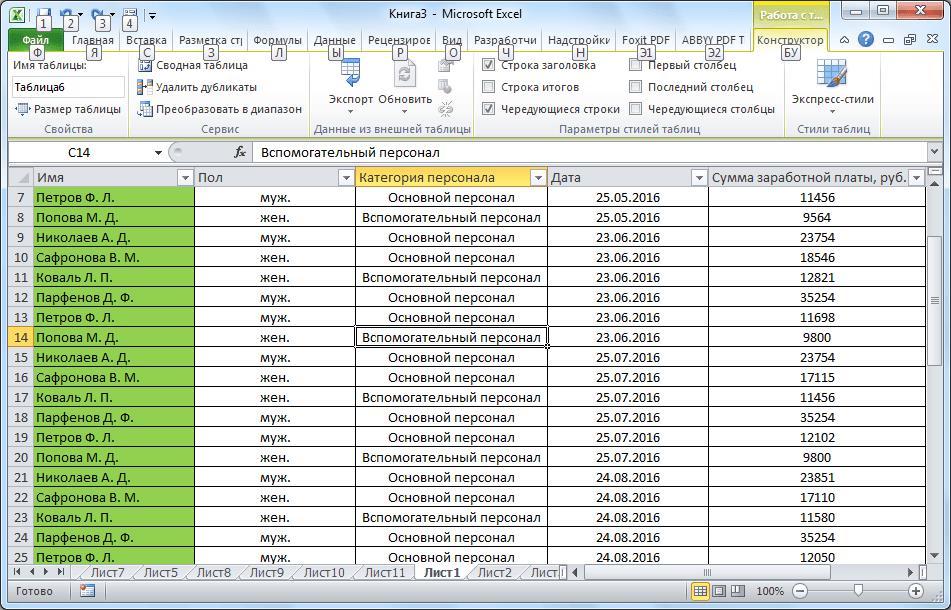 Умная таблица в Microsoft Excel