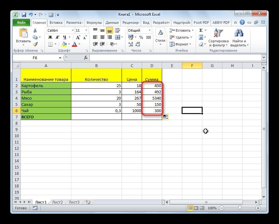 Столбцы перемножены в Microsoft Excel