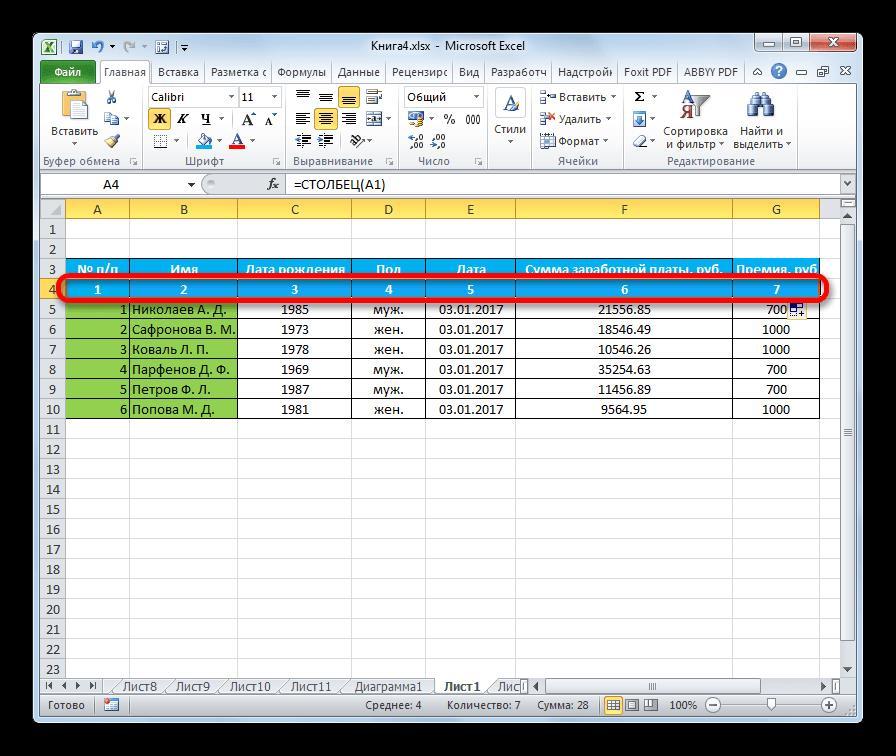 Столбцы пронумерованы функцией СТОЛБЕЦ в Microsoft Excel