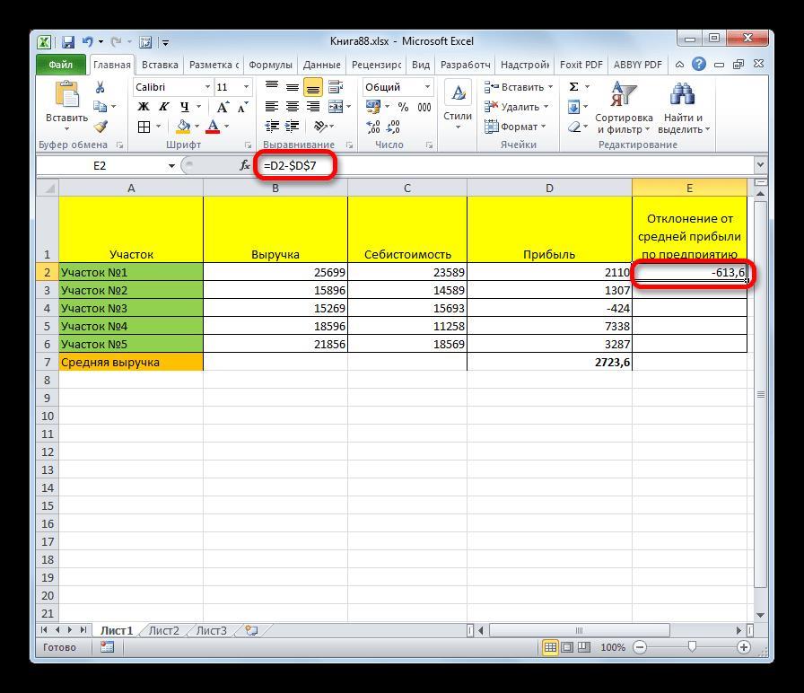 Результат расчета в Microsoft Excel