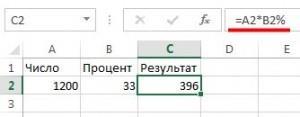 Расчет процентов в Экселе с применением спец символа процентов в формуле