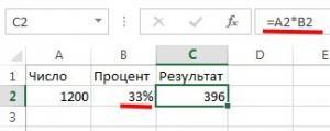 Формула расчета процентов с использованием ячейки процентного формата