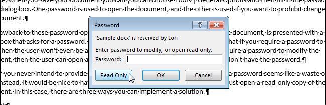 Документ Word только для чтения