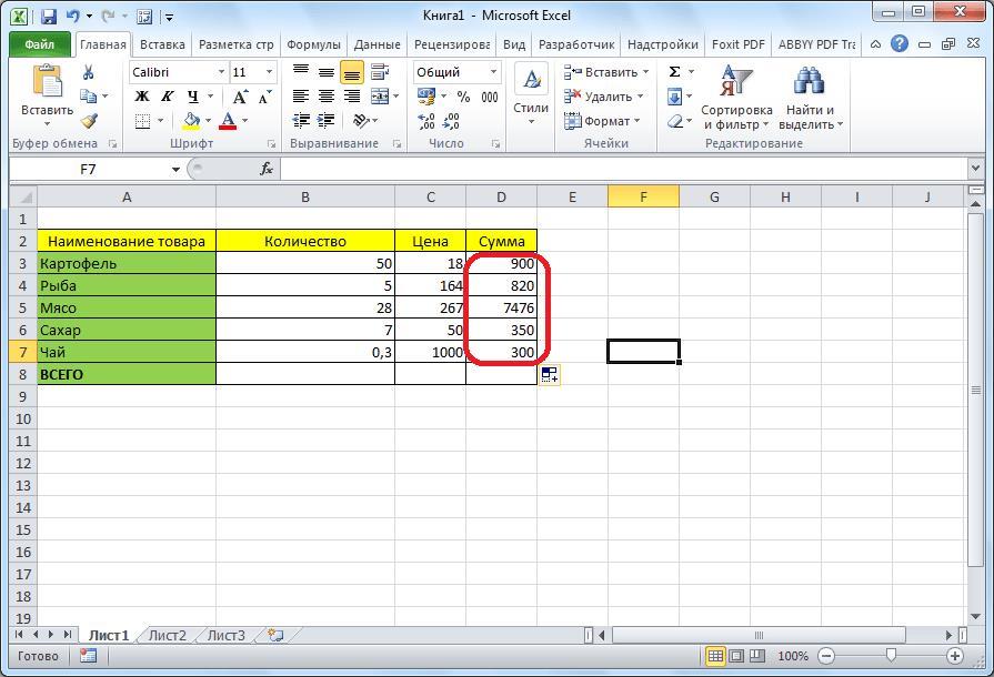 Результаты подсчитаны в Microsoft Excel