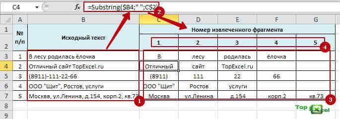 Slitii text 7 Как разделить текст в ячейке Excel?