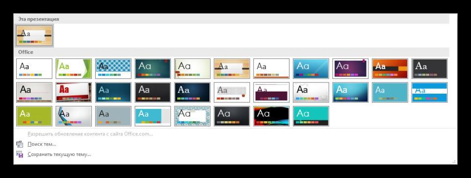 Темы дизайна в PowerPoint