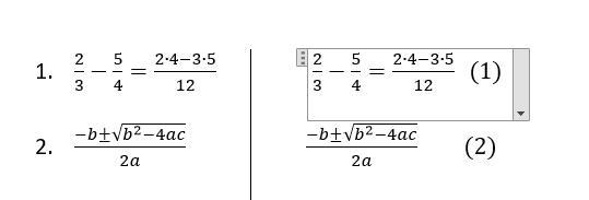 нумерация формул в ворде