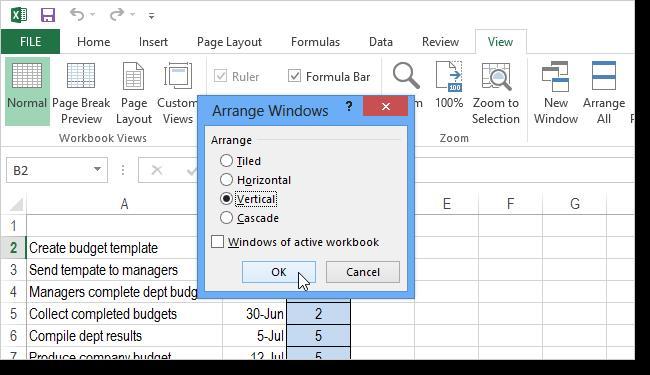 Открыть файлы Excel рядом