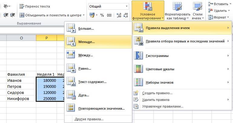 Установка цвета ячейки при помощи условного форматирования