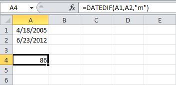 РАЗНДАТ в Excel