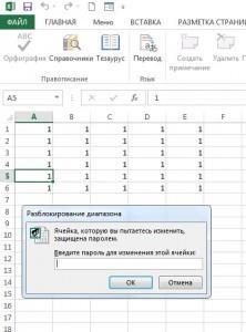 Запрос пароля для редактирования ячеек
