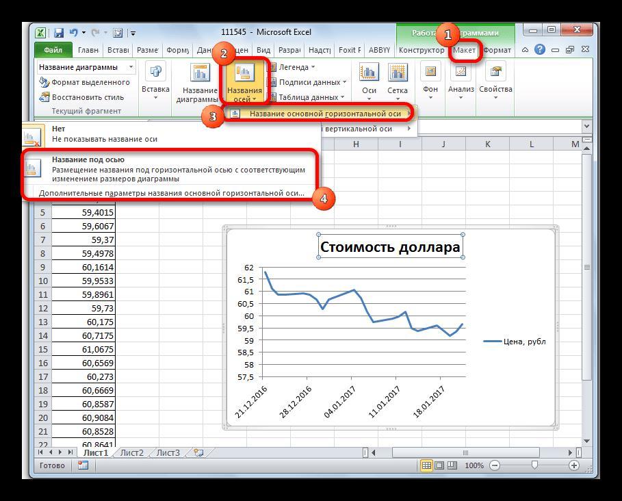 Установка названия горизонтальной оси в Microsoft Excel